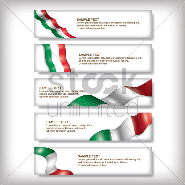 set of italy flag banners vector graphic