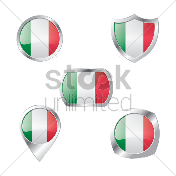set of italy flag buttons vector graphic