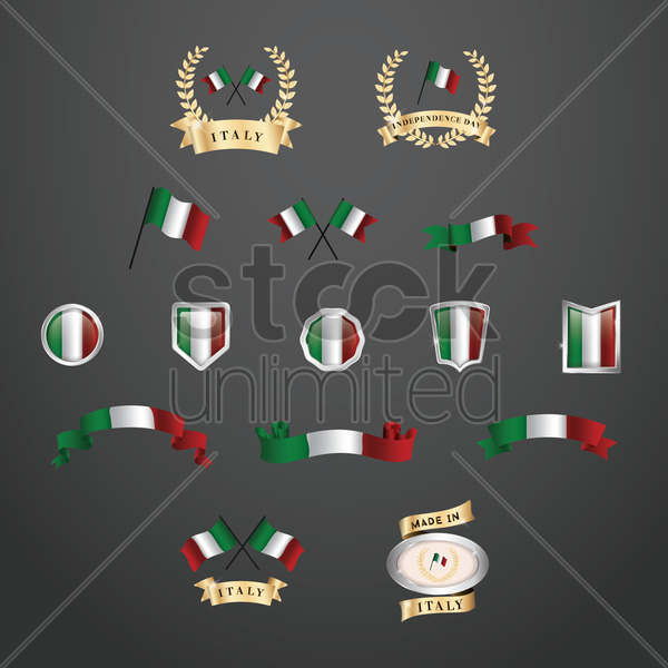 set of italy flag icons vector graphic