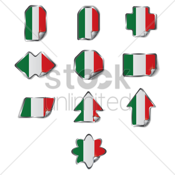 set of italy labels vector graphic