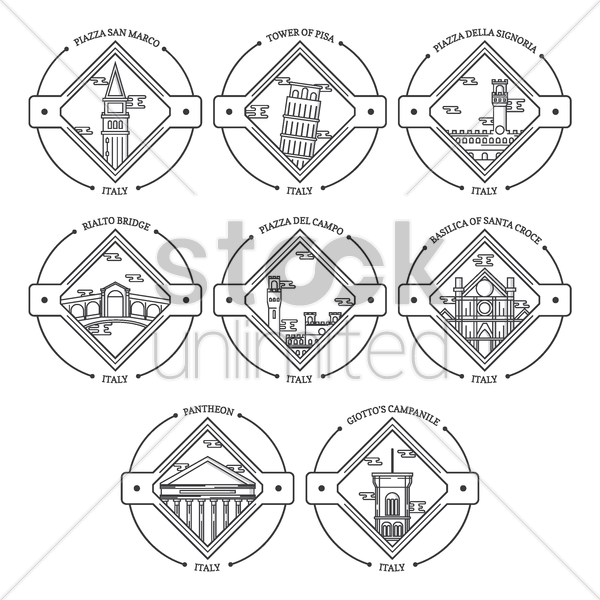 set of italy landmarks vector graphic