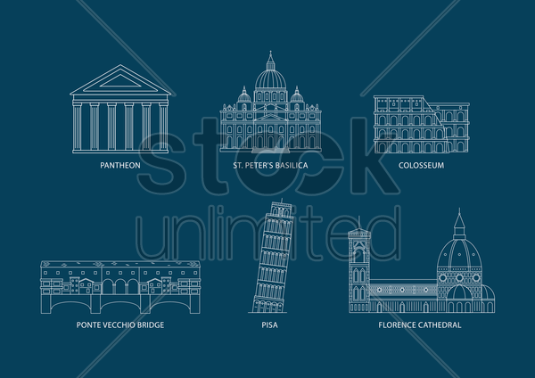set of italy monuments vector graphic