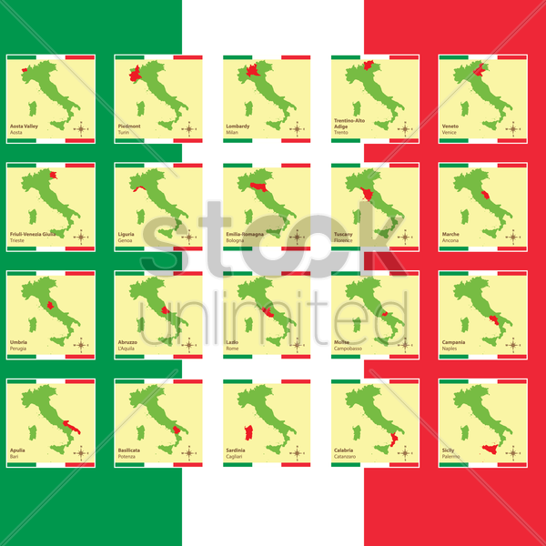 set of italy province maps vector graphic