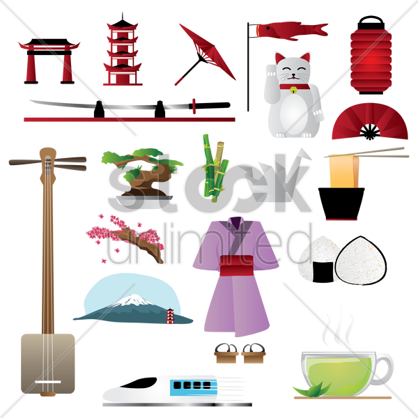 set of japan general icons vector graphic