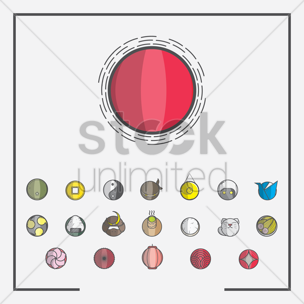 set of japan icons vector graphic