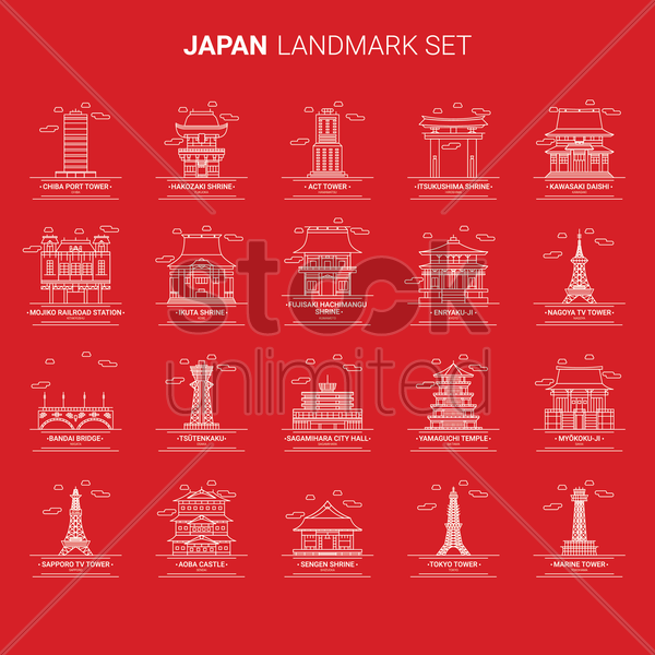 set of japan landmarks vector graphic