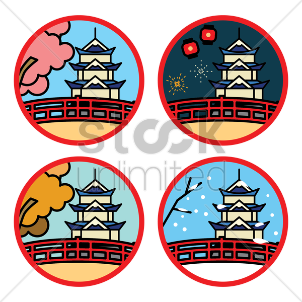 set of japan pagoda bridge vector graphic