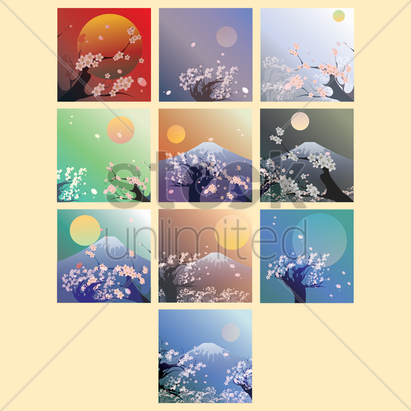 set of japan wallpapers vector graphic