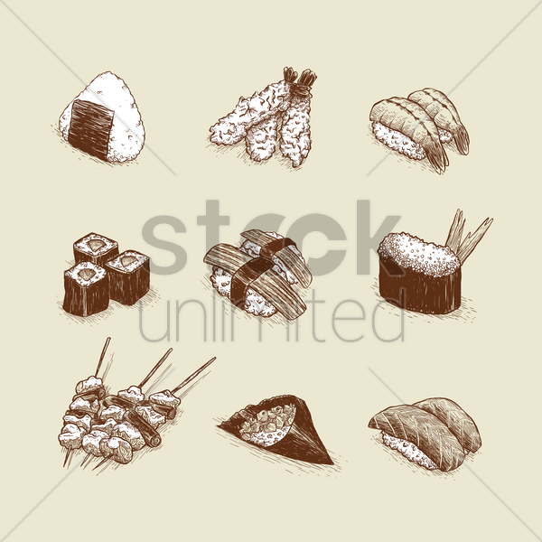 set of japanese food items vector graphic