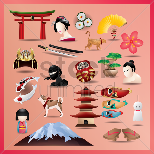 set of japanese icons vector graphic