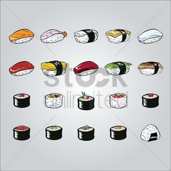 set of japanese sushis vector graphic