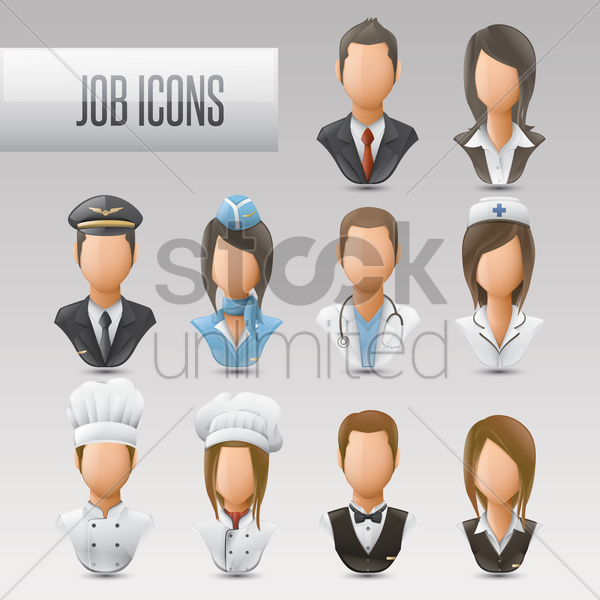 Free set of job icons vector graphic