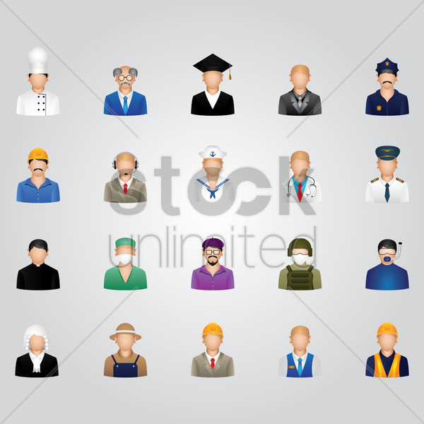 set of job icons vector graphic