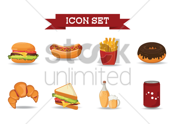 set of junk food icons vector graphic