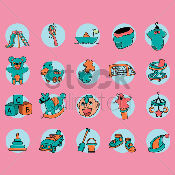set of kids icon vector graphic