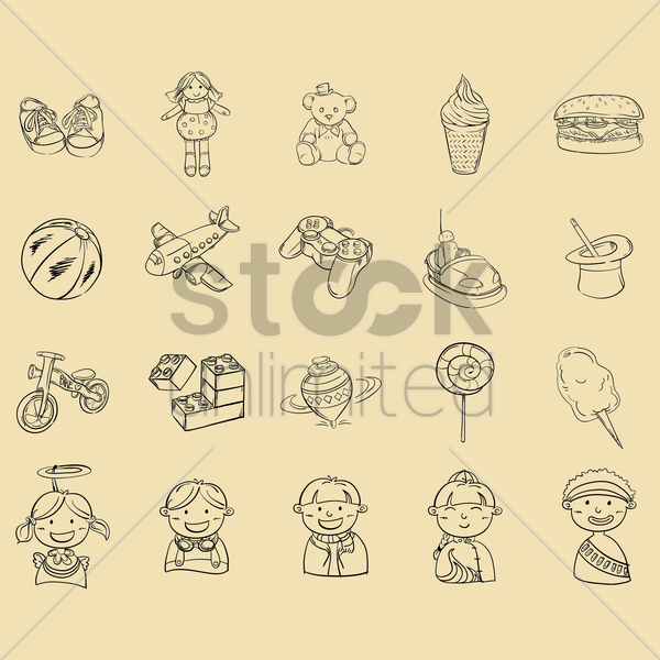 set of kids icons vector graphic