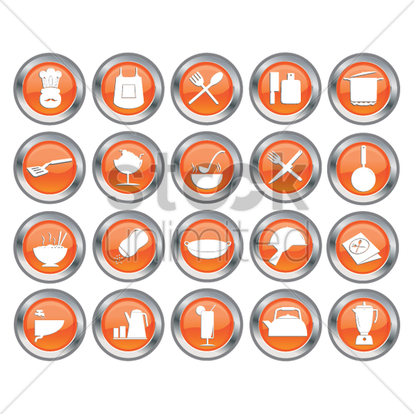 set of kitchen icon buttons vector graphic