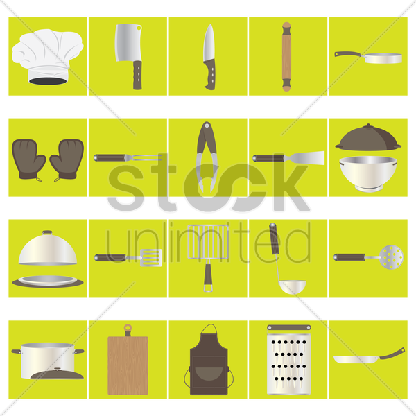 set of kitchen icons vector graphic