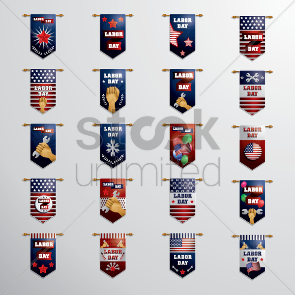 set of labor day hanging pennants vector graphic