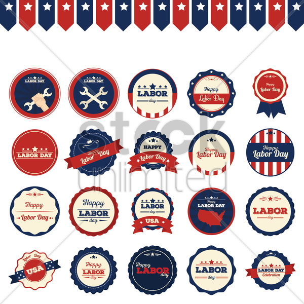 set of labor day icons vector graphic