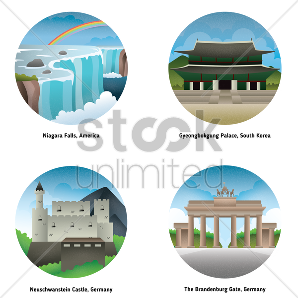set of landmarks vector graphic