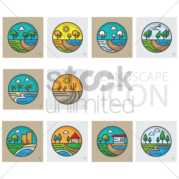set of landscape icons vector graphic