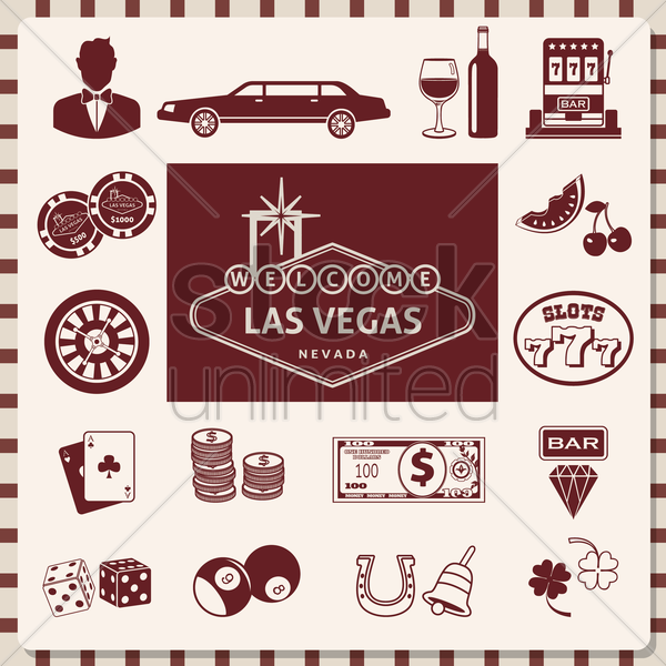 set of las vegas icons vector graphic