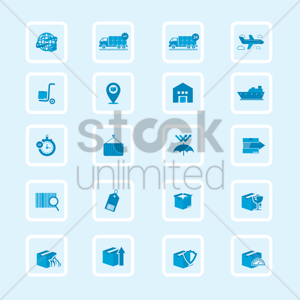 set of logistics icons vector graphic
