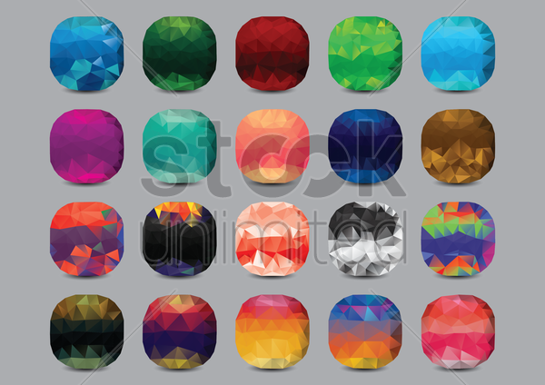 set of low poly gems vector graphic