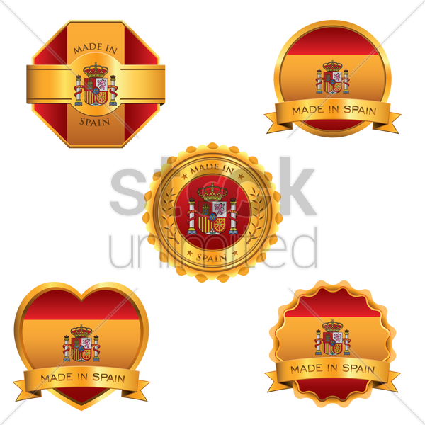 set of made in spain stickers vector graphic