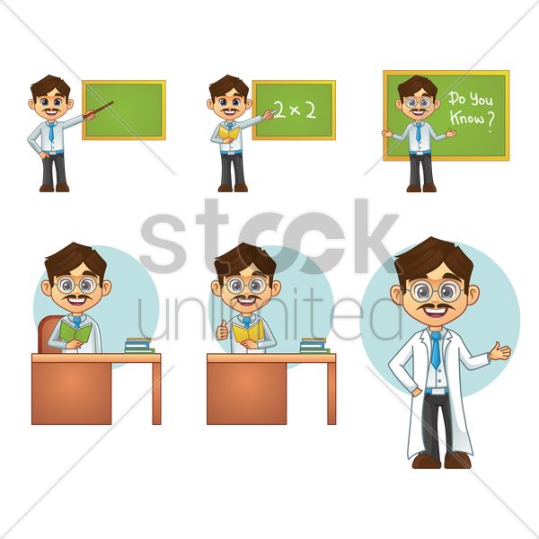 set of male teachers with action vector graphic