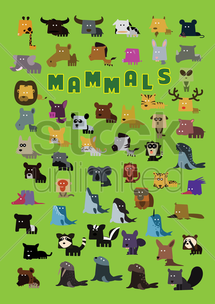 set of mammals icons vector graphic