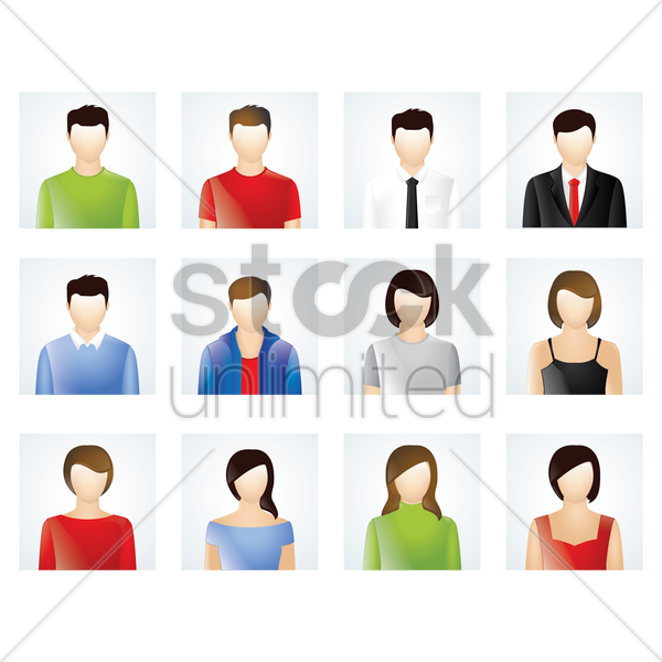 set of man and woman avatar vector graphic