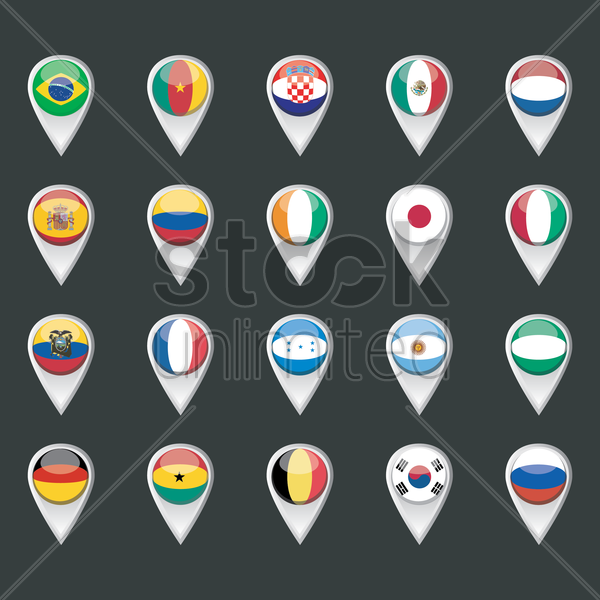 set of map pointers with flags vector graphic