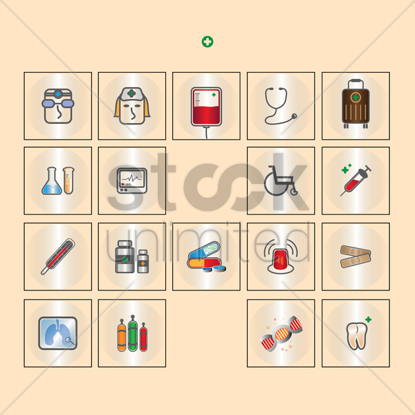 set of medical icons vector graphic