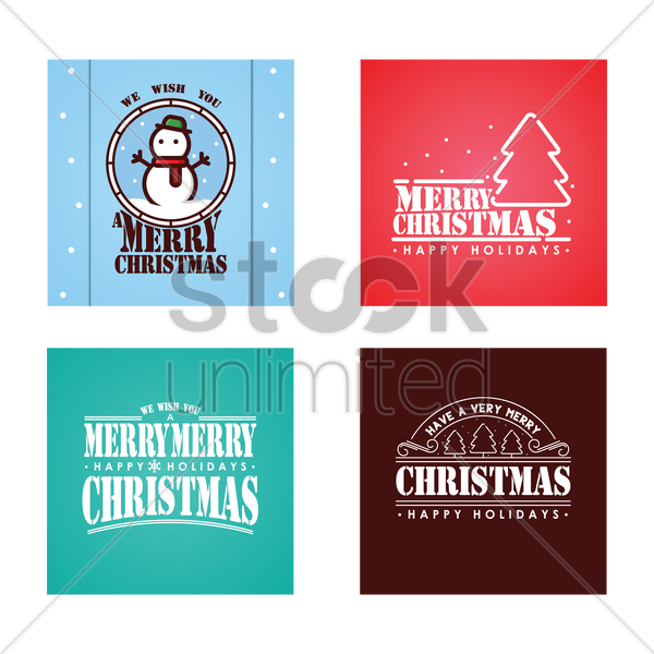 set of merry christmas cards vector graphic