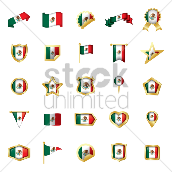 set of mexico flag icons vector graphic