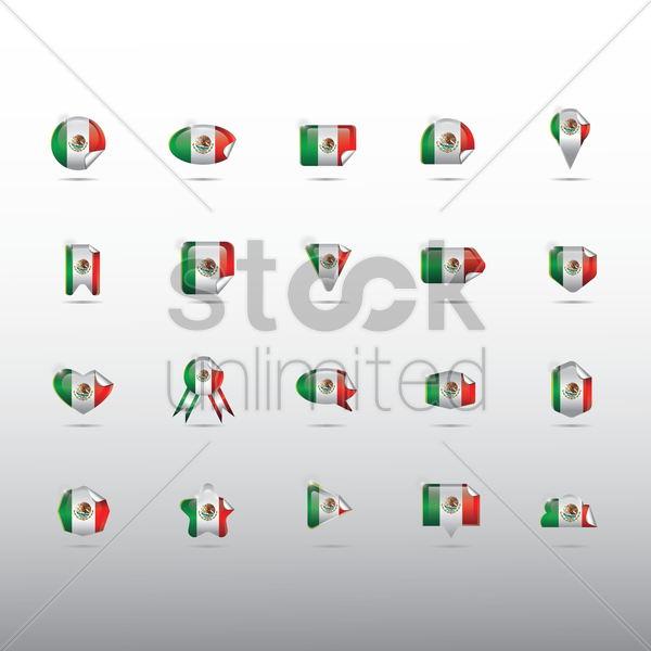 set of mexico flag stickers vector graphic