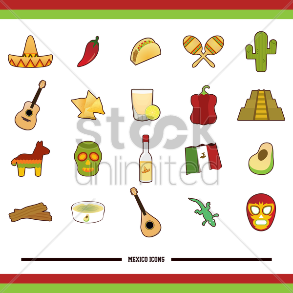 set of mexico icons vector graphic