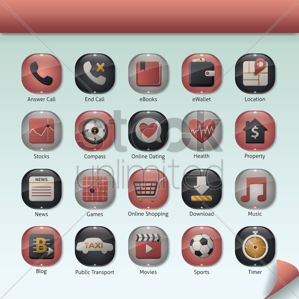 Free set of mobile application icons vector graphic