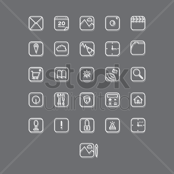set of mobile applications vector graphic