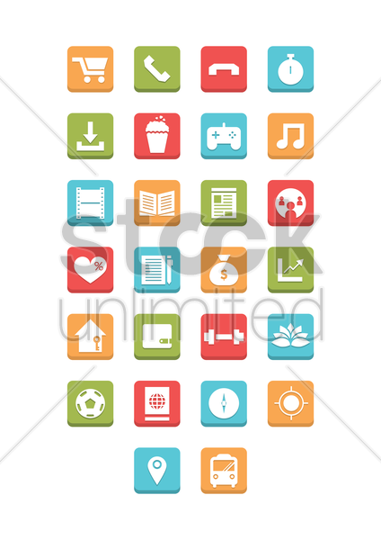 set of mobile icons vector graphic