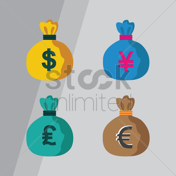 set of money bags vector graphic