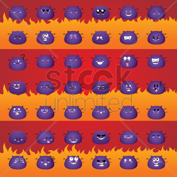 set of monster emoticons vector graphic