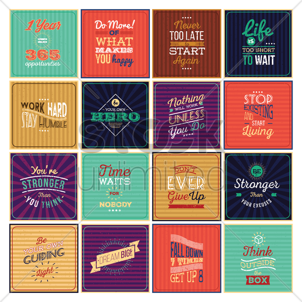 set of motivational quotes vector graphic