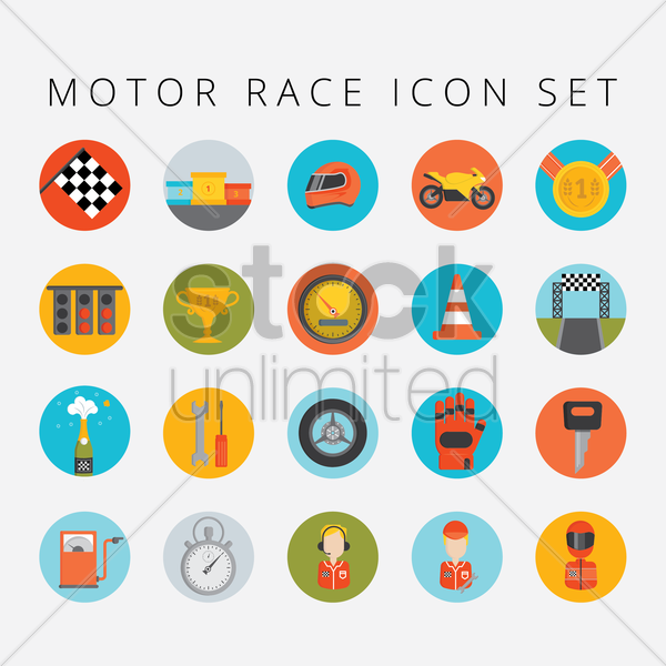set of motor race icons vector graphic