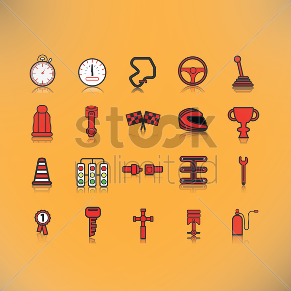 set of motor racing icons vector graphic