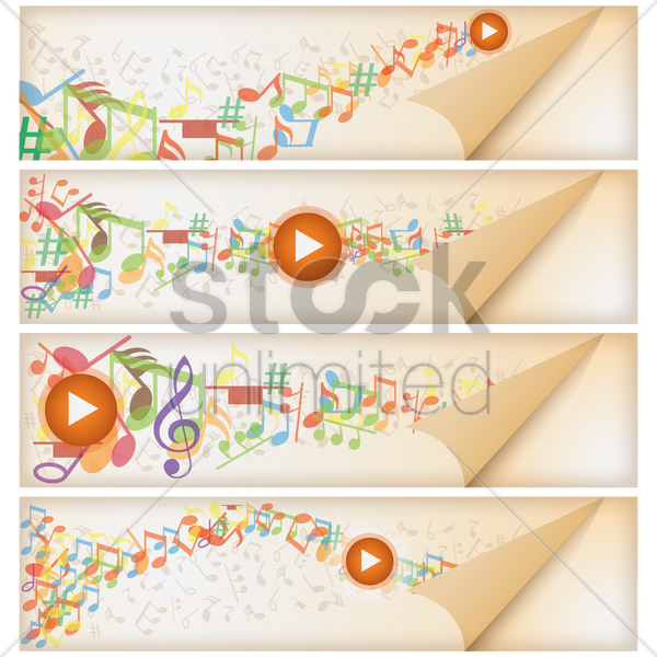set of music banner vector graphic