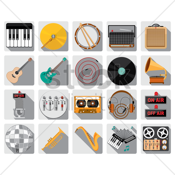 set of music icons vector graphic