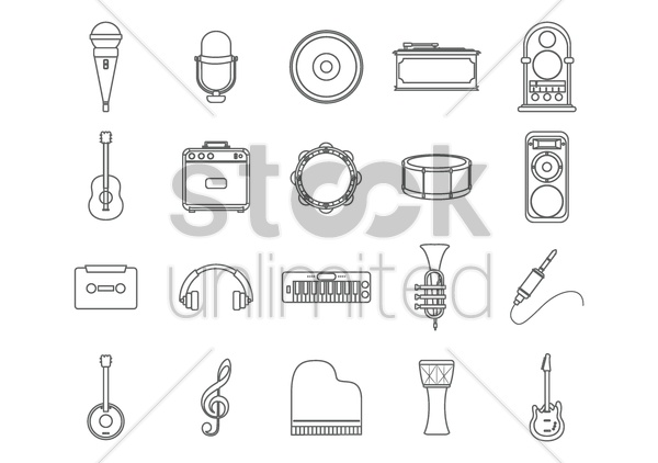 set of musical icons vector graphic